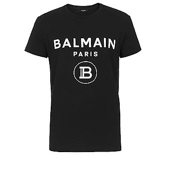 Balmain Uh11601i372eab Män's Black Cotton T-shirt