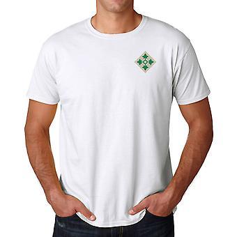 US Army 4th Infantry Division geborduurd Logo - Ringspun katoen T Shirt