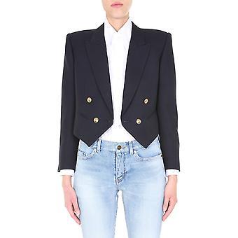 Saint Laurent 619966y221w4141 Damen's Blaue Wolle Blazer