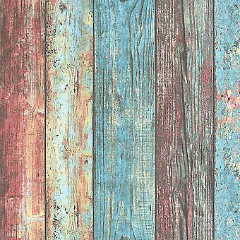 Holzeffekt Bretter Dielen Tapetenkleister die Wand Vinyl AS Creation bunt