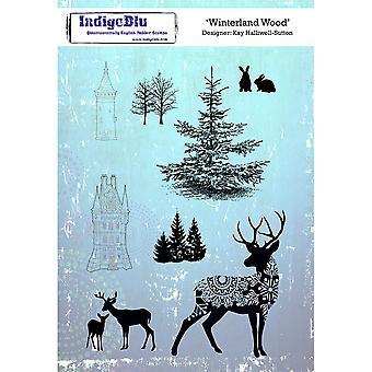 "IndigoBlu Cling Mounted Stamp 8""X5.5""-Winterland Wood"