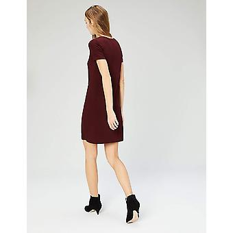 Daily Ritual Women's Jersey Short-Sleeve V-Neck T-Shirt Dress, Dark Red, Small