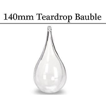 Single 140mm Fillable Two-Part Clear Plastic Teardrop Christmas Bauble Ornament