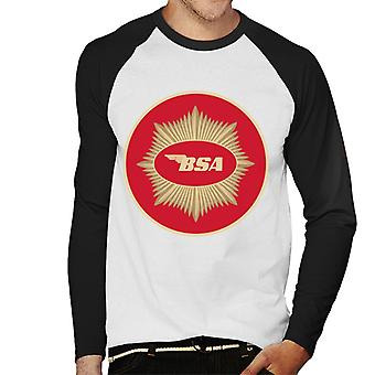 BSA Motorcycle Red Logo Men's Baseball Long Sleeved T-Shirt