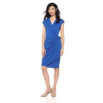 Brand - Lark & Ro Women's Classic Cap Sleeve Wrap Dress, Cobalt Blue, ...