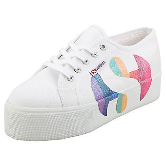 Superga 2790 Cotw Printed Logoglitter Womens Flatform Trainers in White Multicolour