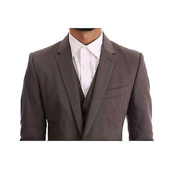 Dolce & Gabbana Brown Cotton 3 db slim fit öltöny -- KOS1778096