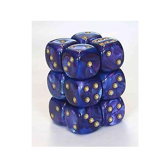 Chessex 16mm D6 Block of 12 - Lustrous Purple/gold
