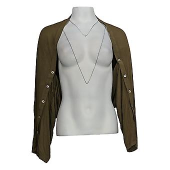 LOGO van Lori Goldstein Women's Sweater Shrug w/ Button Sleeve Green A347659