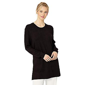 Marchio - Daily Ritual Women's Cozy Knit Side-Vent Tunic, Black, X-Large