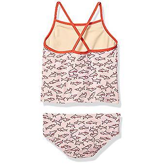 Essentials Girl's 2-Piece Tankini Set, Pink Shark, Small