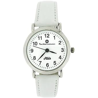 Relda Girls First Holy Communion White Calf Grain Leather Strap Watch REL02