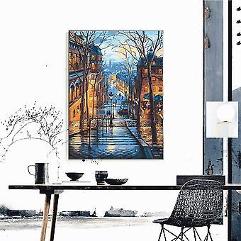Diy maleri av tall landskap - Diy oljemaleri av tall uten ramme