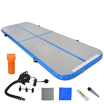 HOMCOM 3(M) Air Track Inflatable Tumbling Mat Gymnastic Mat For Exercise Fitness Yoga Home Outdoor Training Use With / Electric Air Pump | Handle Bag - Blue