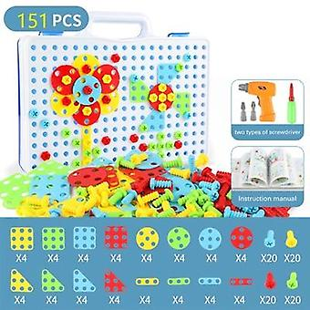 Diy Screw Drill Puzzle  Jigsaw Mosaic Building Educational Toys Tool Kit