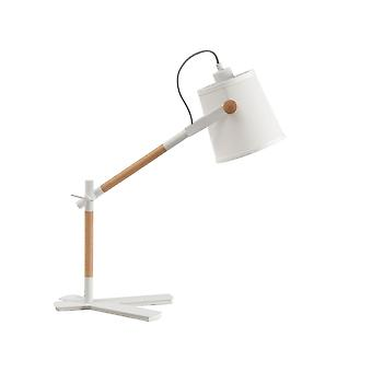 Inspired Mantra - Nordica - Table Task Lamp with White Shade 1 Light E27, Matt White, Beech with Ivory White Shade