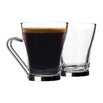 Bormioli Rocco 6 pieza Oslo té café latte gafas set - copas de capuchino de vidrio templado - mango de acero inoxidable - 220ml