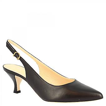 Leonardo Schuhe Frauen's handgemachte Mid Heels Slingback Pumps Schuhe in schwarzem Kalbsleder mit Schnalle Verschluss