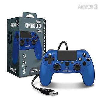 Wired Game Controller til PS4/ PC/ Mac (Blå) - Armor3