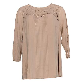 Daniel Rainn Women's Plus Top Knit Lace Yoke 3/4 Sleeve Pink 639-515
