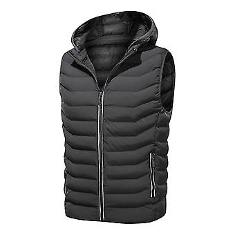 YANGFAN Mens Warm Hooded Vest Winter Down Solid Color Zip Waistcoat Gilet