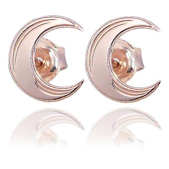 Ah! Jewellery 18K Rose Gold Over Sterling Silver Moon Studs, Stamped 925. Total Earring Size Of 8mm
