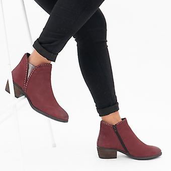 Lotus Benny Ladies Leather Ankle Boots Red/pewter