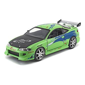 Fast & Furious Brians 1995 Mitsubishi Eclipse Sports Die-cast Toy Car 1:24 Escala