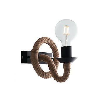 Ventilateur Europe Rope - Wall Rope Lamp, Noir, Beige, E27