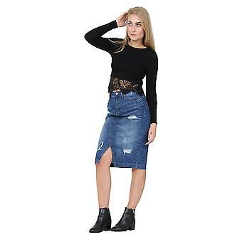 Distressed denim pencil skirt jean skirt with front v split - stone wash