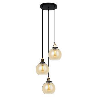 Pendentif suspendu industriel et rétro noir, lumière d'or 3 avec l'ombre d'ambre, dimmable e27