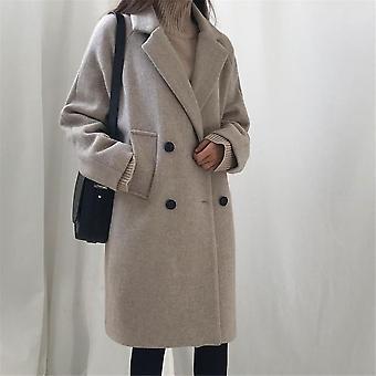 Moda de iarna Femei Lână Amestecuri Loose Dublu Breaded Coat Casual Elegant