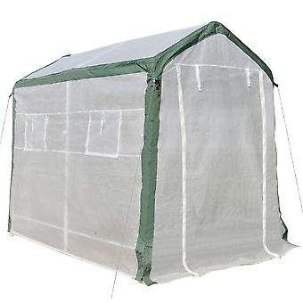 Outsunny Greenhouse with Roll Up Door and 4 Windows Plant Growth Warm House Outdoor, PE Cover, Steel Frame, White, 2.4 x 1.8 x 2m