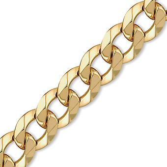 Jewelco London Men's Solid 9ct Yellow Gold Traditional Heavy Weight Curb Link 20mm Gauge Chain Necklace