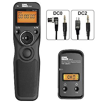 Remote shutter release camera wireless remote control with 2 connecting cables dc0/dc2, pixel tw-283