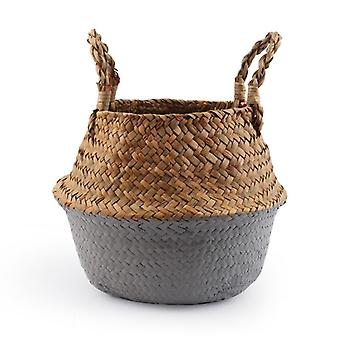 Folding Handmade Storage Basket Decorative Rattan Plant Flower Pot Woven Wicker