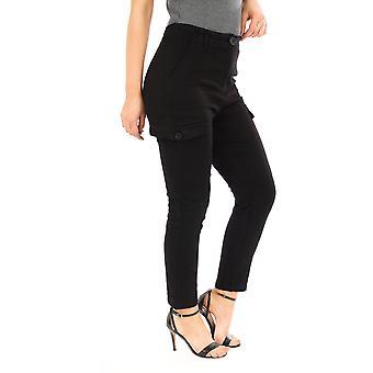 Pierna corta de los pantalones de carga de gran altura - negro