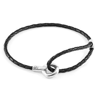 ANCHOR & CREW Blake Silver and Braided Leather Bracelet