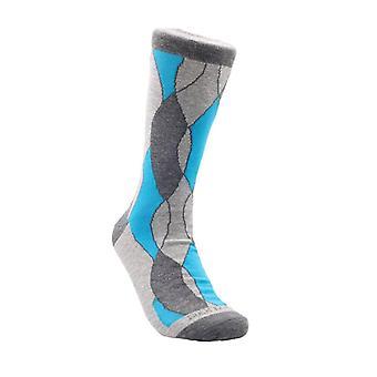Blue and Grey Wavy Pattern Office Socks