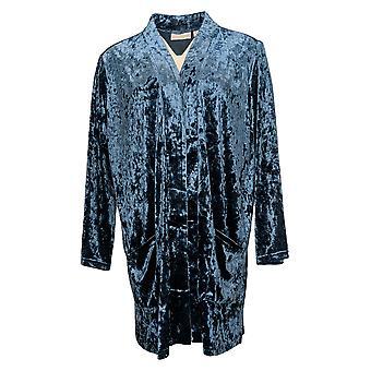 Belle par Kim Gravel Women's Sweater Crushed Velvet Cardigan Blue A390259