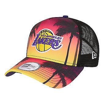 New Era LA Lakers Summer City Trucker Cap - Black