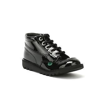 Kickers Kick Hi Toddler Black Patent Leather Boots
