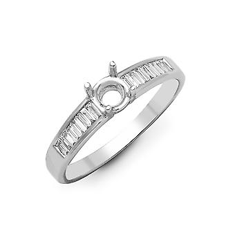 Jewelco London Solid 18ct White Gold Channel Set G VS 0.26ct Diamond Semi Set Mount Engagement Ring 5.5mm