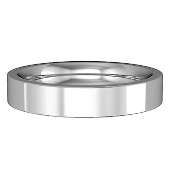 Jewelco London 18ct White Gold - 4mm Premium Flat Court-Shaped Band Commitment / Wedding Ring
