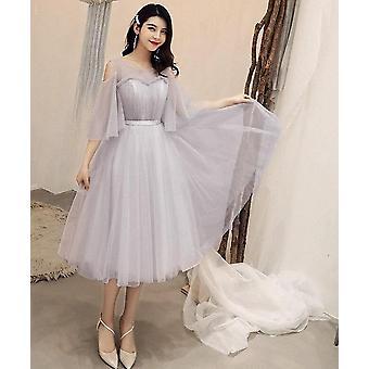 שמלת מסיבת שרוולים קצרים אלגנטית ( סט 2)