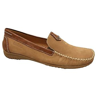 Gabor Brown Leather Wide Fit Slip On Moccasin Shoe