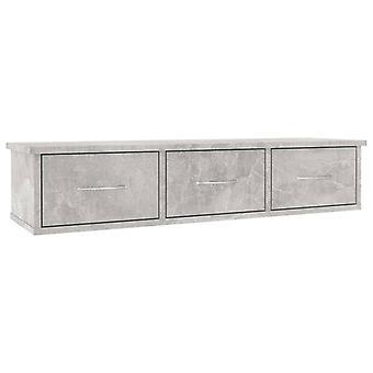 vidaXL Wand-Schubladenregal Betongrau 88x26x18,5 cm Spanplatte
