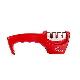 أحمر سكين المبراة 3 مراحل المطبخ المهنية التنغستن شحذ الحجر az6828