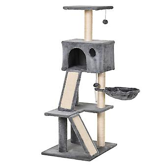 PawHut 130cm Cat Tree Activity Center with Condo Scratching Post Ladders Kitty Climbing Tower Relaxing Playing