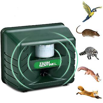 Eu plug garden outdoor ultrasonic rodent repeller, pest raccoon bird animal repeller az17074